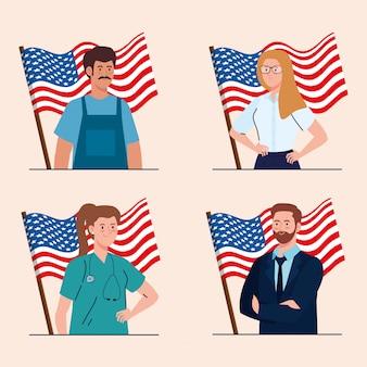 Peintre femme d'affaires médecin et homme d'affaires avec des drapeaux usa