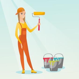 Peintre tenant illustration vectorielle de peinture rouleau.