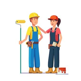 Peintres professionnels. travailleurs artisans