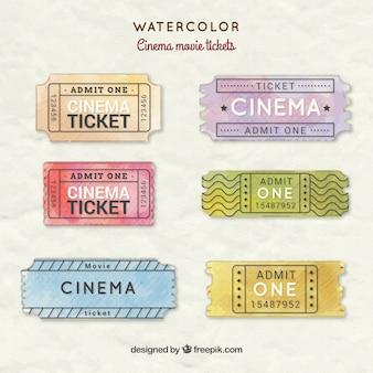 Peints à la main des billets de cinéma de cinéma