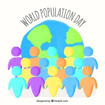 Peints à la main des gens avec l'arrière-plan du monde