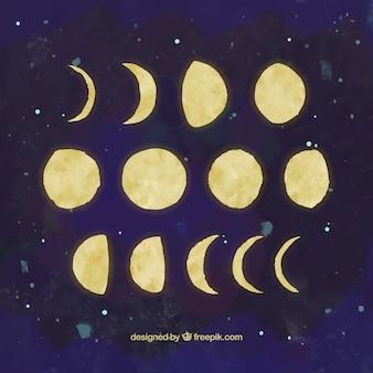 Peints à la main phases de lune