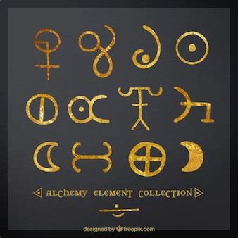 Peints à la main des symboles d'alchimie