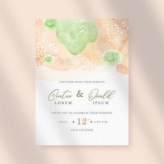 Peinture abstraite d'aquarelle d'éclaboussure de couleur verte et orange sur le backround d'invitation de mariage