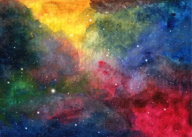 Peinture abstraite de galaxie. texture cosmique aquarelle avec des étoiles. ciel nocturne. voie lactée interstellaire profonde. espace d'art coloré.