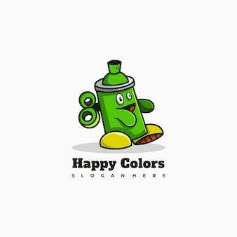 La peinture en aérosol caractère mascotte logo design vector illustration