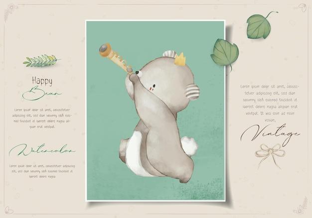 Peinture animalière mignonne aquarelle parade musique célébration