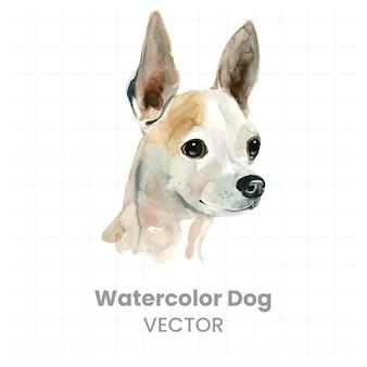Peinture à l'aquarelle d'un chien sur fond blanc