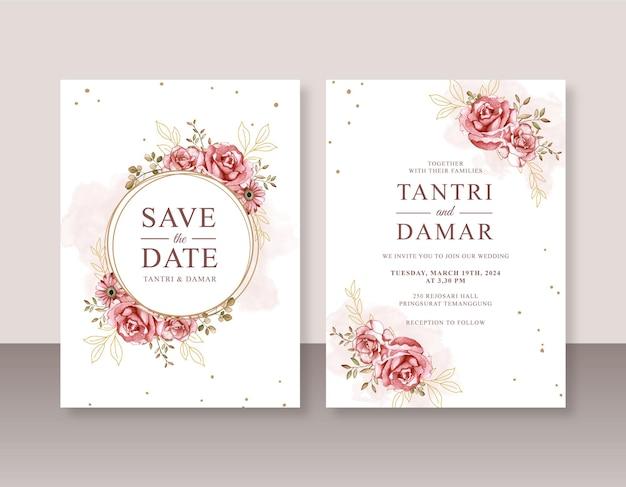 Peinture à l'aquarelle de roses pour un beau modèle d'invitation de mariage