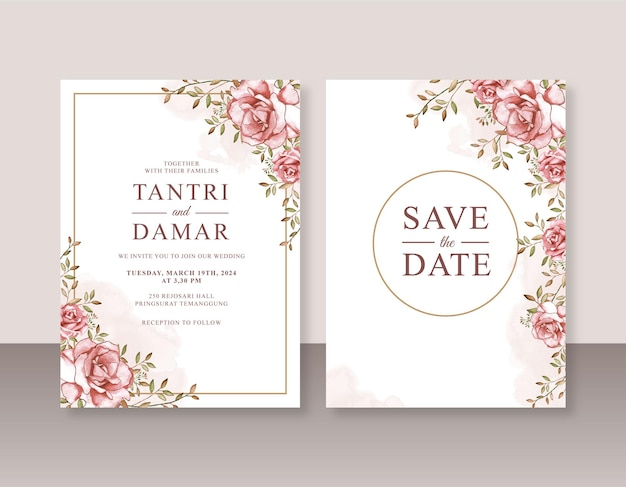 Peinture à l'aquarelle de roses pour un modèle d'invitation de mariage élégant