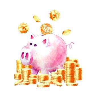 Peinture à l'aquarelle de tirelire économisant de l'argent avec des économies modernes de crypto-monnaie