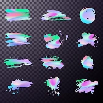 Peinture au pinceau holographique. texture colorée à la mode, conception de couleur néon. belle texture arc-en-ciel. feuille holographique.