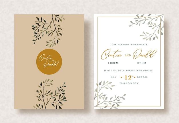 Peinture de branches florales sur fond d'invitation de mariage