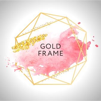 Peinture à cadre doré coup de pinceau peint à la main. parfait pour le titre, le logo et la bannière de vente. aquarelle