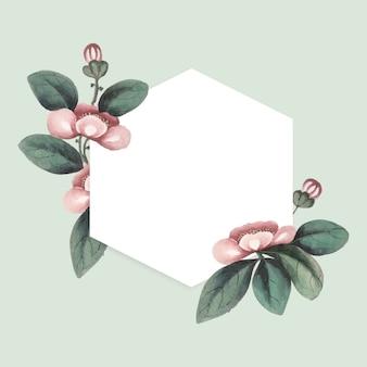 Peinture chinoise avec cadre hexagonal vierge de fleurs