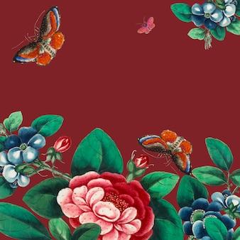 Peinture chinoise avec des fleurs et des papillons