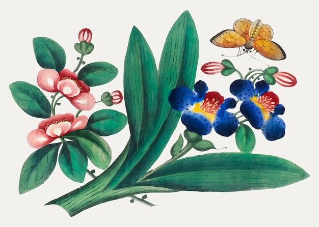 Peinture chinoise représentant des fleurs et des papillons.