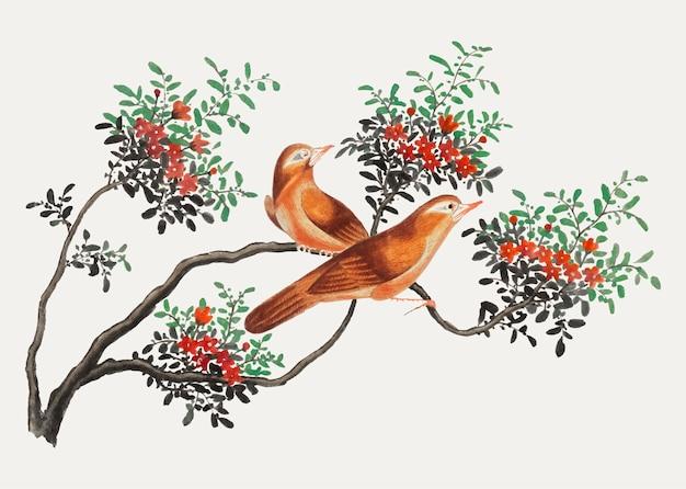 Peinture chinoise représentant des oiseaux de chine.