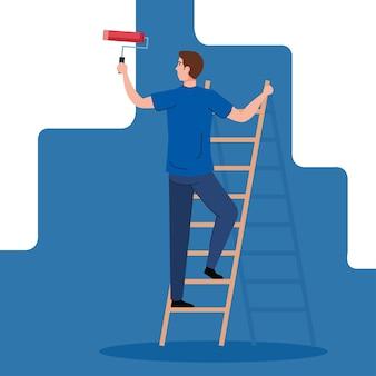 Peinture de dessin animé homme avec rouleau sur la conception de l'échelle de travaux de construction et de réparation de remodelage