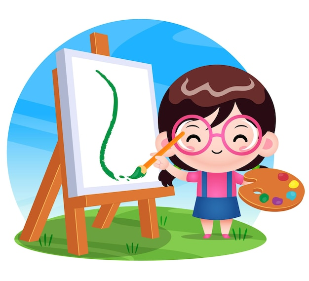 Peinture de fille mignonne heureuse