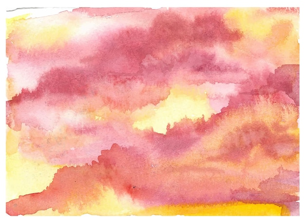 Peinture à la main coucher de soleil dramatique ciel nuageux fond aquarelle