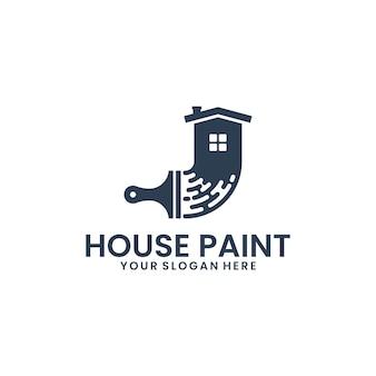 Peinture de maison, pinceau, modèle de logo