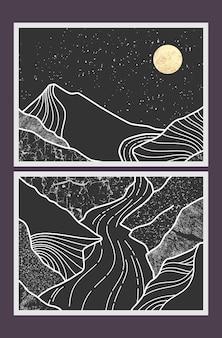 Peinture de montagne abstraite, fond abstrait, vecteur premium