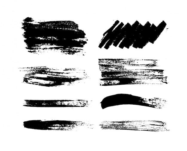 Peinture noire, coup de pinceau d'encre, pinceau, trait ou texture. coups de pinceau artistiques grunge, pinceaux.