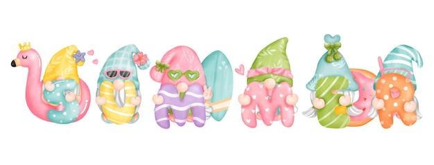 Peinture numérique aquarelle bonjour les gnomes d'été carte de voeux joyeux été beach gnome