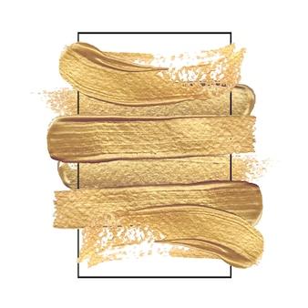 Peinture à l'or dessiné à la main des coups de pinceau dans un cadre rectangulaire de couleur noire.
