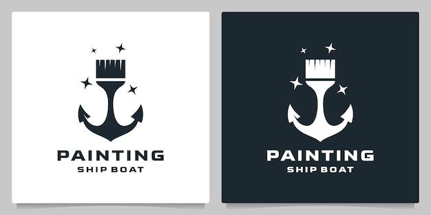 Peinture pinceau ancre plage nautique logo design