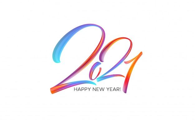 Peinture de pinceau coloré lettrage calligraphie de fond de bonne année. illustration