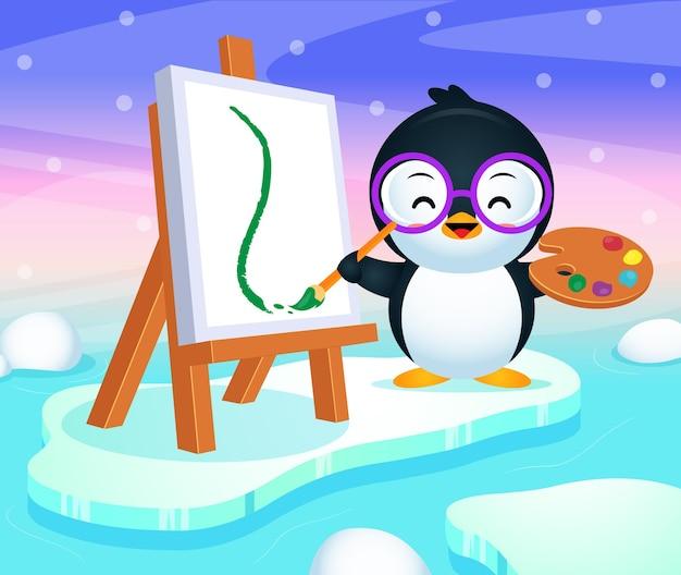 Peinture de pingouin mignon heureux