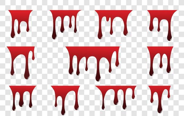 Peinture rouge dégoulinant isolé