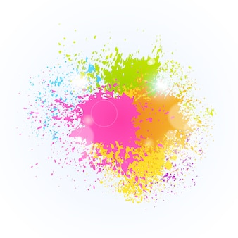 Peinture splash festival de couleurs happy holi india holiday celebration traditionnel panier de voeux
