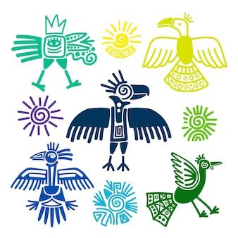 Peintures d'oiseaux tribaux primitifs vector illustration. symboles des indiens du pérou et de l'équateur isolés sur fond blanc