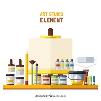 Peintures et pinceaux de studio d'art