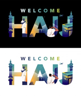 Pèlerin priant sur jabal rahmah et faisant face à la masjid haram avec illustration de la typographie hajj