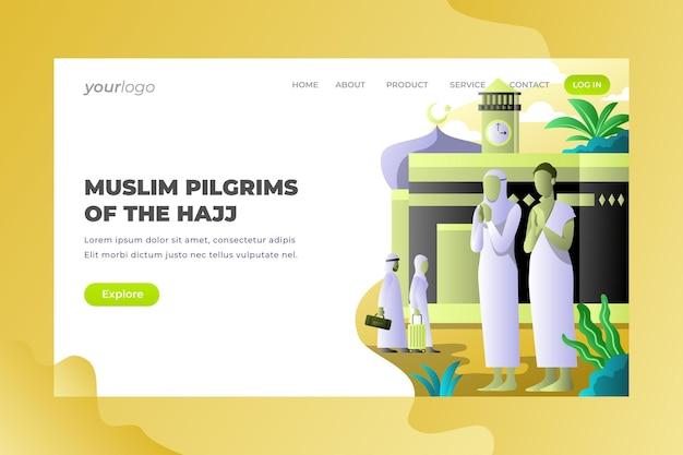 Pèlerins musulmans du hajj - page de destination vectorielle