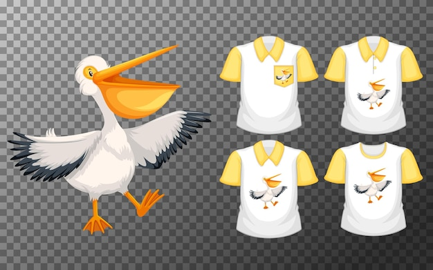Pélican blanc en position debout avec de nombreux types de chemises