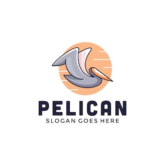 Pélican avec un logo de style moderne