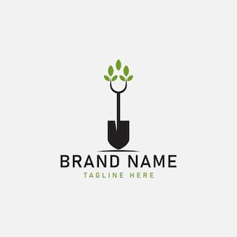 Pelle arbre feuille bêche nature logo vert illustration vectorielle