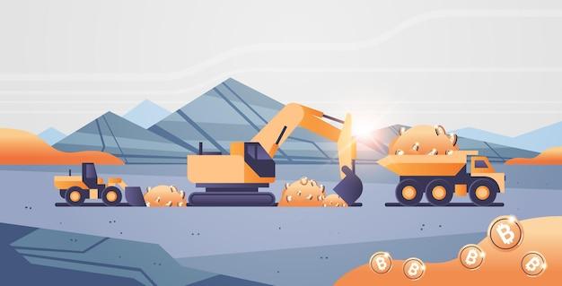 Pelle chargeant des bitcoins sur des camions lourds transport minier pièce d'or production d'argent numérique crypto-monnaie blockchain concept carrière de pierre à ciel ouvert illustration vectorielle horizontale
