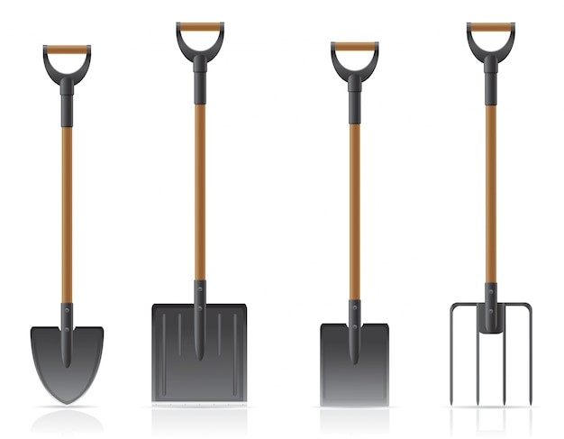 Pelle à outils de jardin et fourche.