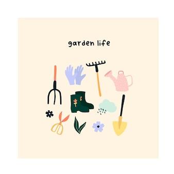 Pelle d'outils de jardin mignon dessinés à la main, râteau, ciseaux, bottes en caoutchouc, arrosoir.