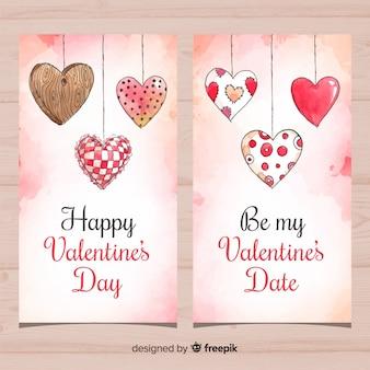 Pendaison de bannière imprimée coeurs saint valentin