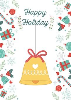 Pendaison de cloche avec carte de joyeuses fêtes de ruban