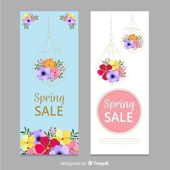 Pendaison de fleurs printemps bannière de vente