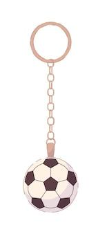 Pendentif ballon de football sur porte-clés isolated on white