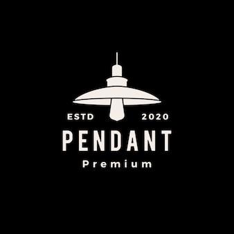Pendentif industriel suspendu léger intérieur logo vintage icône illustration